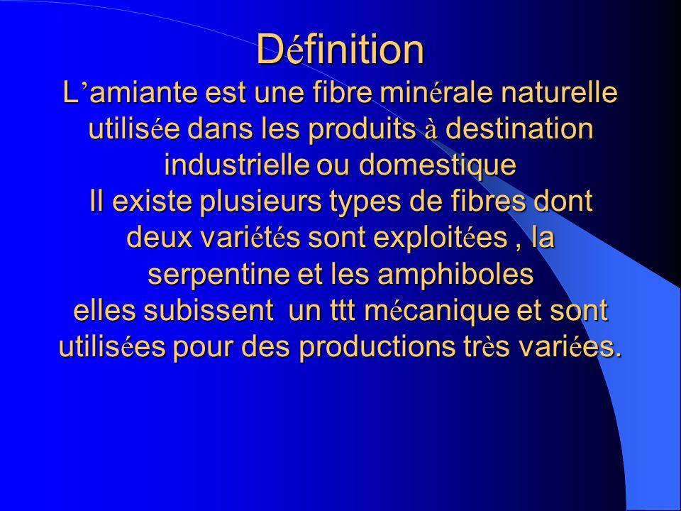 D é finition L amiante est une fibre min é rale naturelle utilis é e dans les produits à destination industrielle ou domestique Il existe plusieurs ty