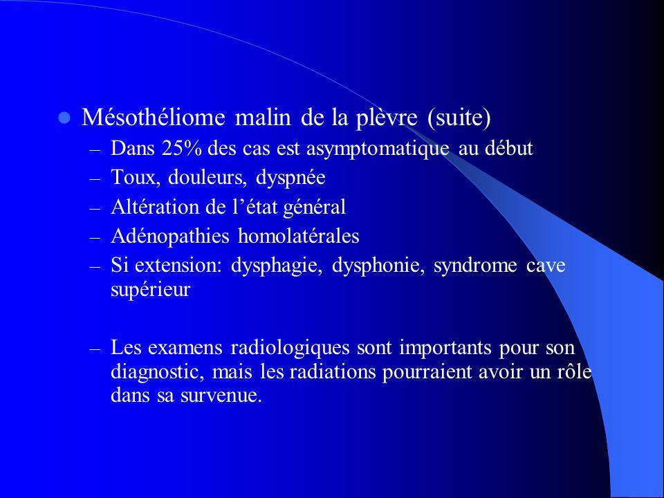 Mésothéliome malin de la plèvre (suite) – Dans 25% des cas est asymptomatique au début – Toux, douleurs, dyspnée – Altération de létat général – Adéno