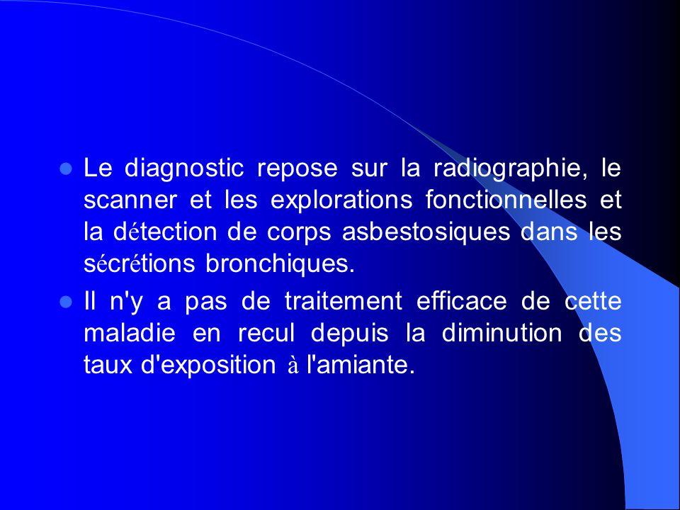 Le diagnostic repose sur la radiographie, le scanner et les explorations fonctionnelles et la d é tection de corps asbestosiques dans les s é cr é tio