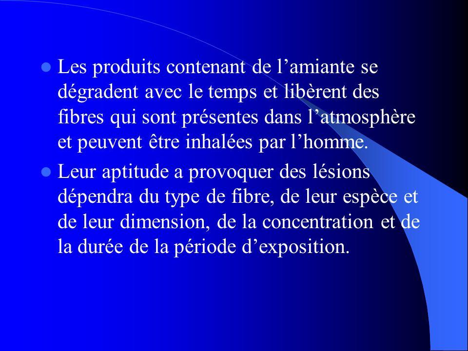 Les produits contenant de lamiante se dégradent avec le temps et libèrent des fibres qui sont présentes dans latmosphère et peuvent être inhalées par