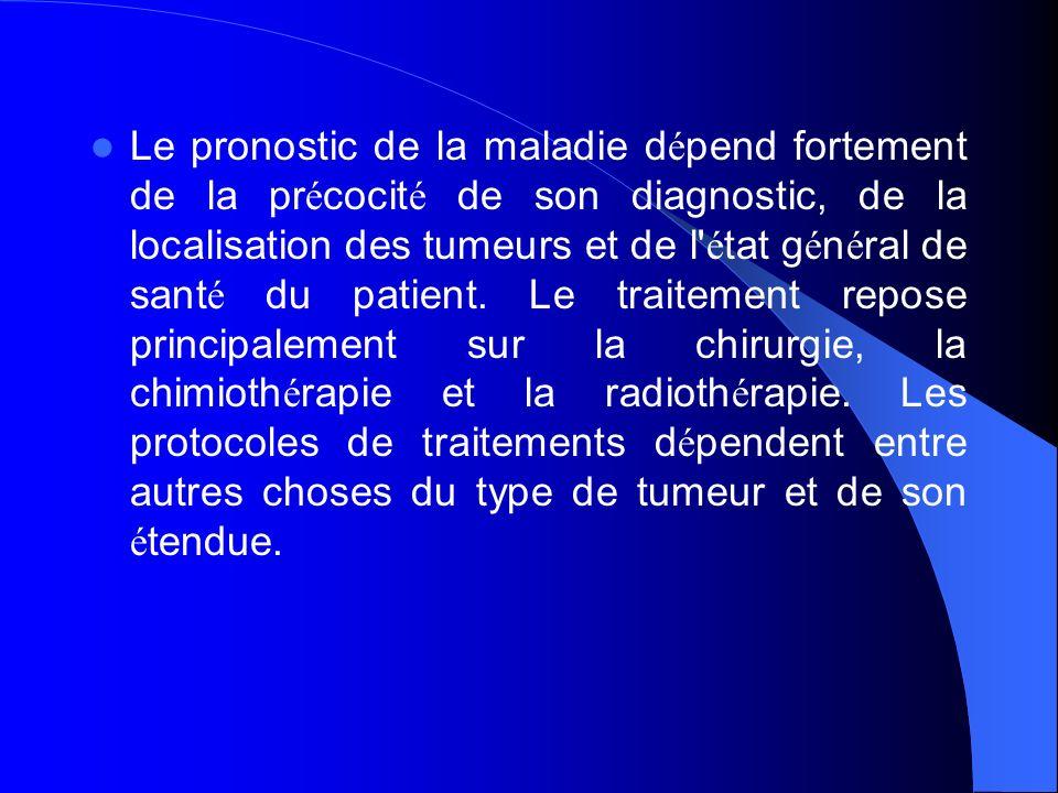 Le pronostic de la maladie d é pend fortement de la pr é cocit é de son diagnostic, de la localisation des tumeurs et de l' é tat g é n é ral de sant