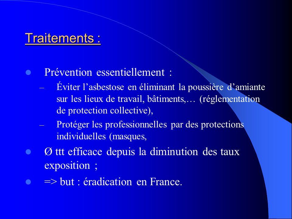 Traitements : Prévention essentiellement : – Éviter lasbestose en éliminant la poussière damiante sur les lieux de travail, bâtiments,… (réglementatio