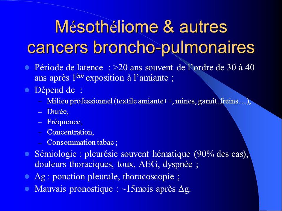 M é soth é liome & autres cancers broncho-pulmonaires Période de latence : >20 ans souvent de lordre de 30 à 40 ans après 1 ère exposition à lamiante