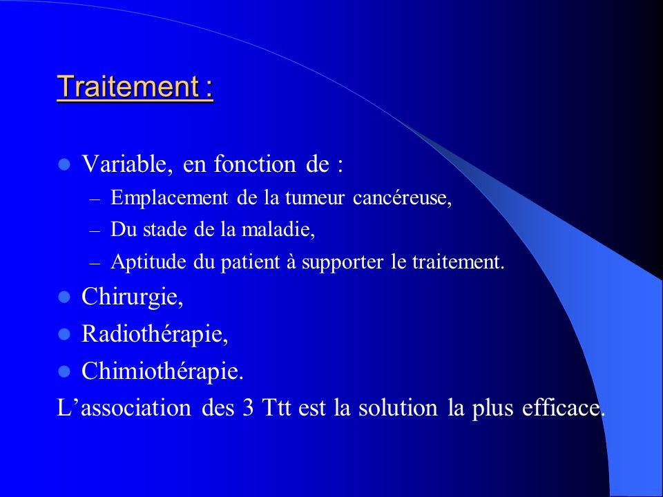 Traitement : Variable, en fonction de : – Emplacement de la tumeur cancéreuse, – Du stade de la maladie, – Aptitude du patient à supporter le traiteme