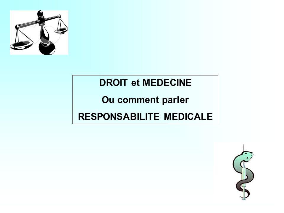 DROIT et MEDECINE Ou comment parler RESPONSABILITE MEDICALE