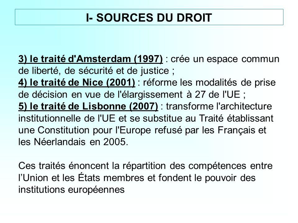 3) le traité d'Amsterdam (1997) : crée un espace commun de liberté, de sécurité et de justice ; 4) le traité de Nice (2001) : réforme les modalités de