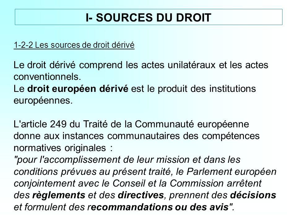 1-2-2 Les sources de droit dérivé Le droit dérivé comprend les actes unilatéraux et les actes conventionnels. Le droit européen dérivé est le produit