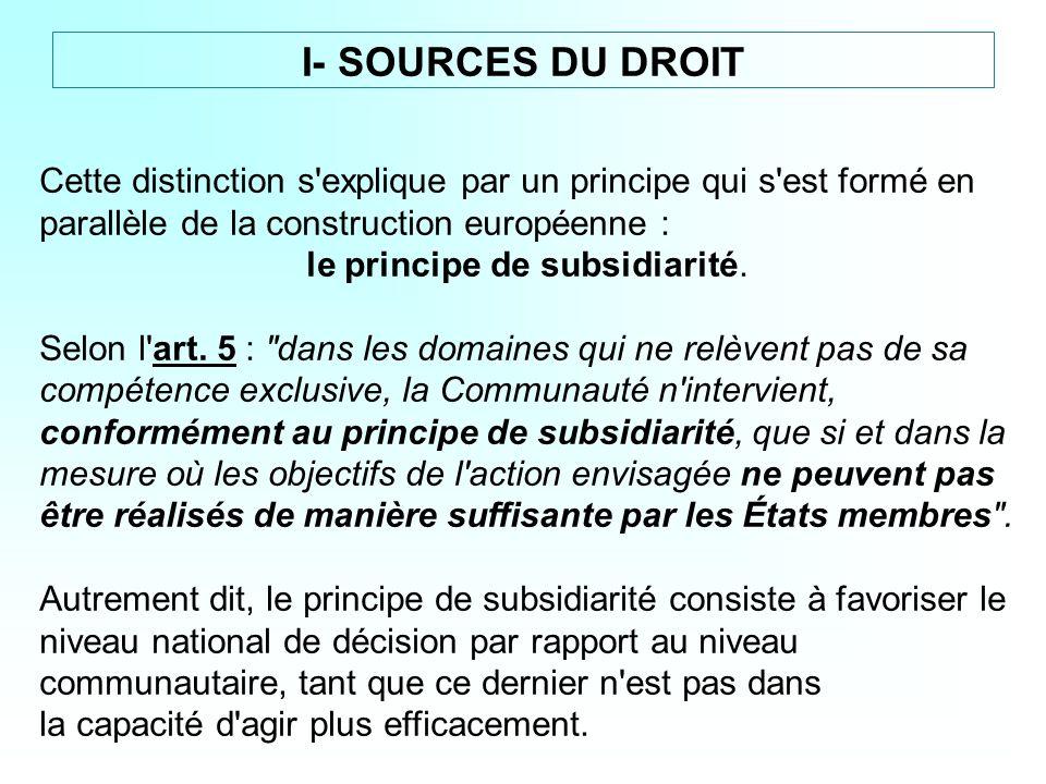 Cette distinction s'explique par un principe qui s'est formé en parallèle de la construction européenne : le principe de subsidiarité. Selon l'art. 5