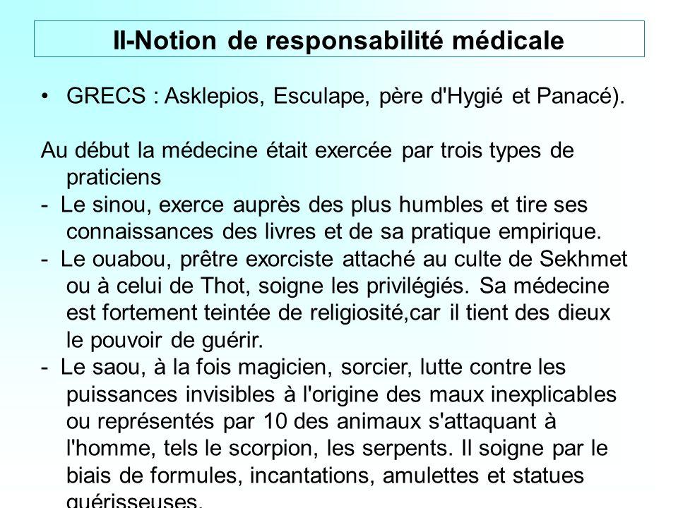 GRECS : Asklepios, Esculape, père d'Hygié et Panacé). Au début la médecine était exercée par trois types de praticiens - Le sinou, exerce auprès des p