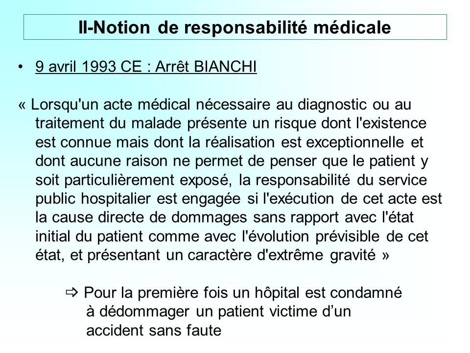 9 avril 1993 CE : Arrêt BIANCHI « Lorsqu'un acte médical nécessaire au diagnostic ou au traitement du malade présente un risque dont l'existence est c