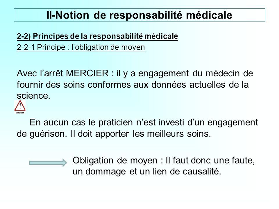 2-2) Principes de la responsabilité médicale 2-2-1 Principe : lobligation de moyen Avec larrêt MERCIER : il y a engagement du médecin de fournir des s