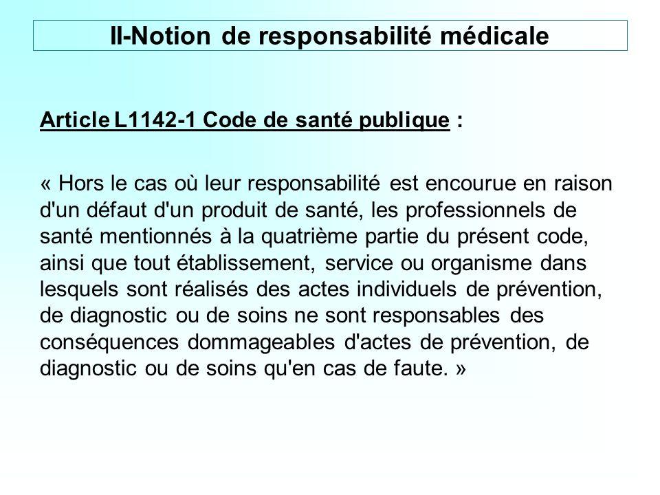 Article L1142-1 Code de santé publique : « Hors le cas où leur responsabilité est encourue en raison d'un défaut d'un produit de santé, les profession