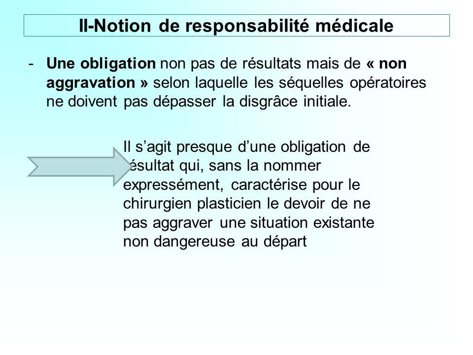 -Une obligation non pas de résultats mais de « non aggravation » selon laquelle les séquelles opératoires ne doivent pas dépasser la disgrâce initiale