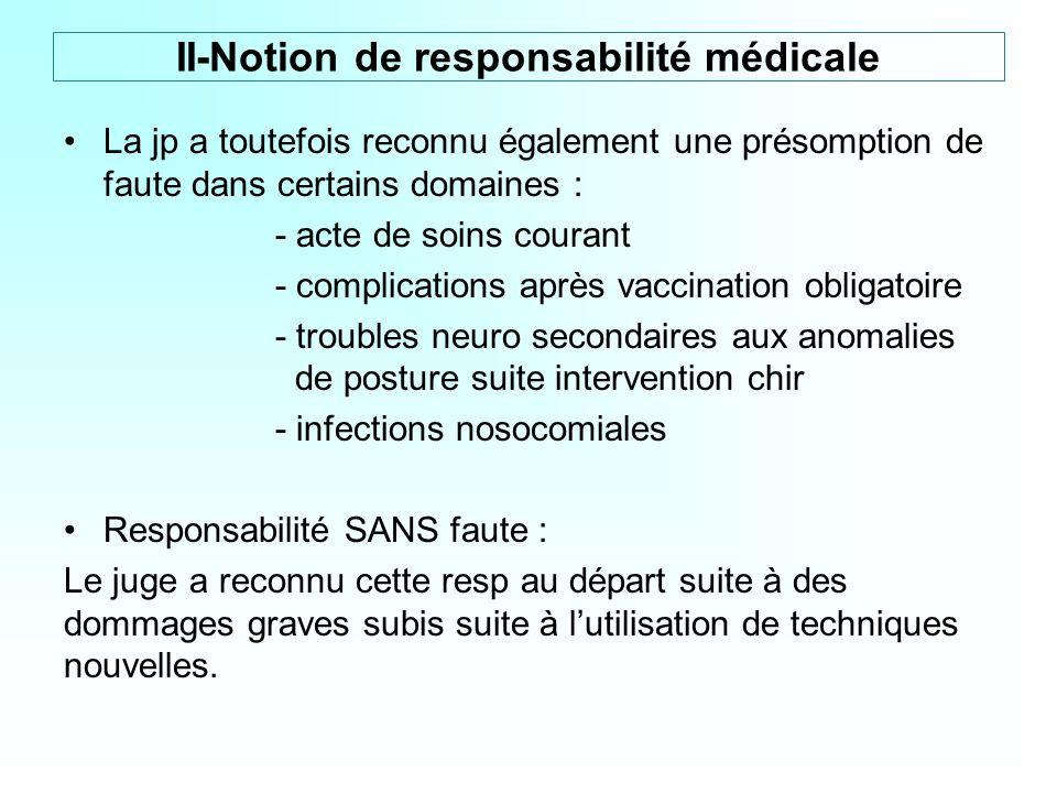 La jp a toutefois reconnu également une présomption de faute dans certains domaines : - acte de soins courant - complications après vaccination obliga