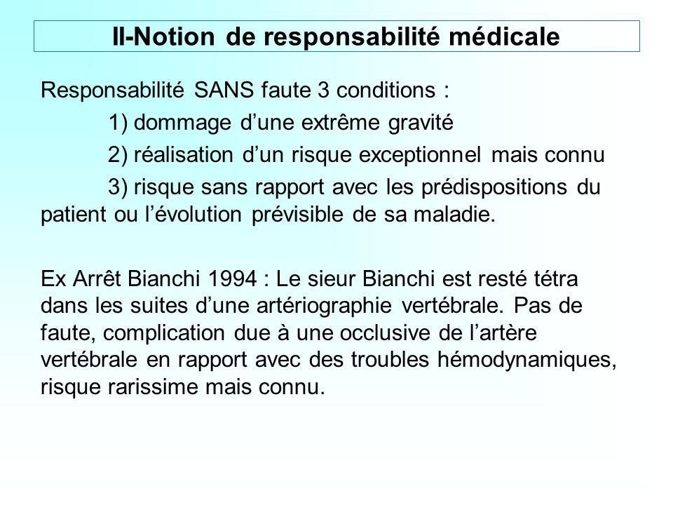 Responsabilité SANS faute 3 conditions : 1) dommage dune extrême gravité 2) réalisation dun risque exceptionnel mais connu 3) risque sans rapport avec
