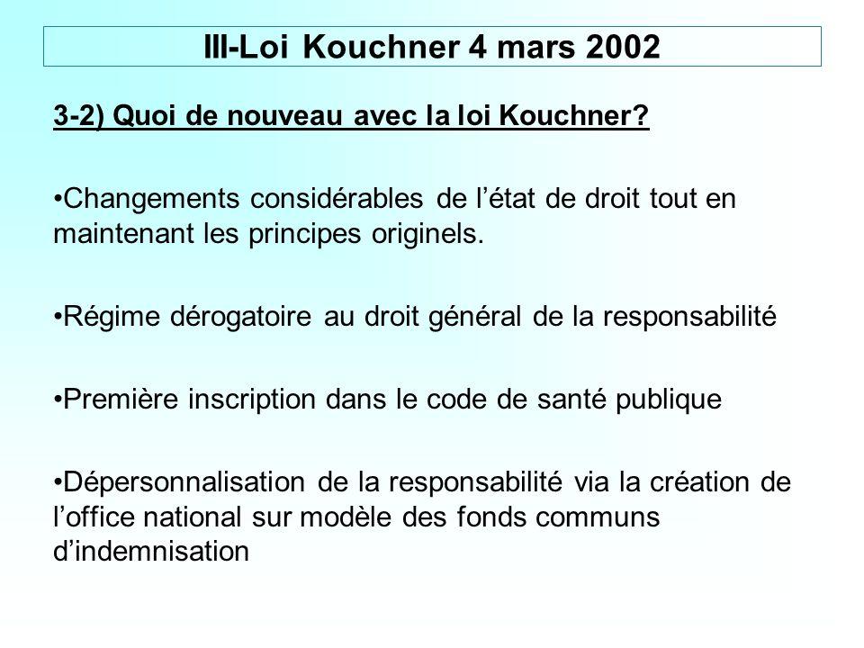 3-2) Quoi de nouveau avec la loi Kouchner? Changements considérables de létat de droit tout en maintenant les principes originels. Régime dérogatoire