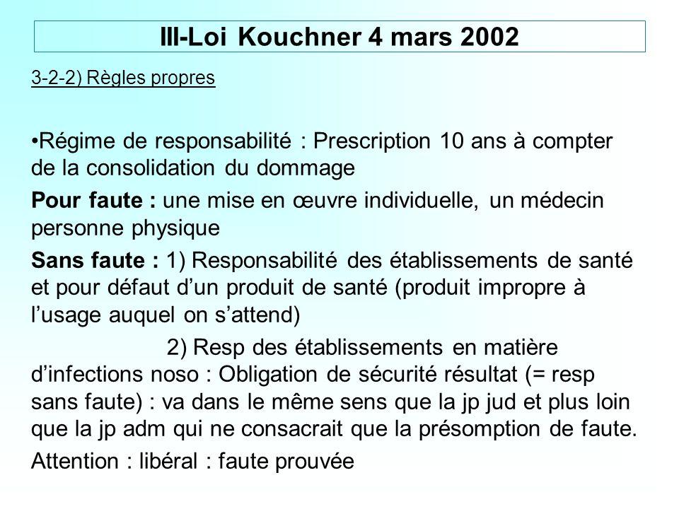 3-2-2) Règles propres Régime de responsabilité : Prescription 10 ans à compter de la consolidation du dommage Pour faute : une mise en œuvre individue