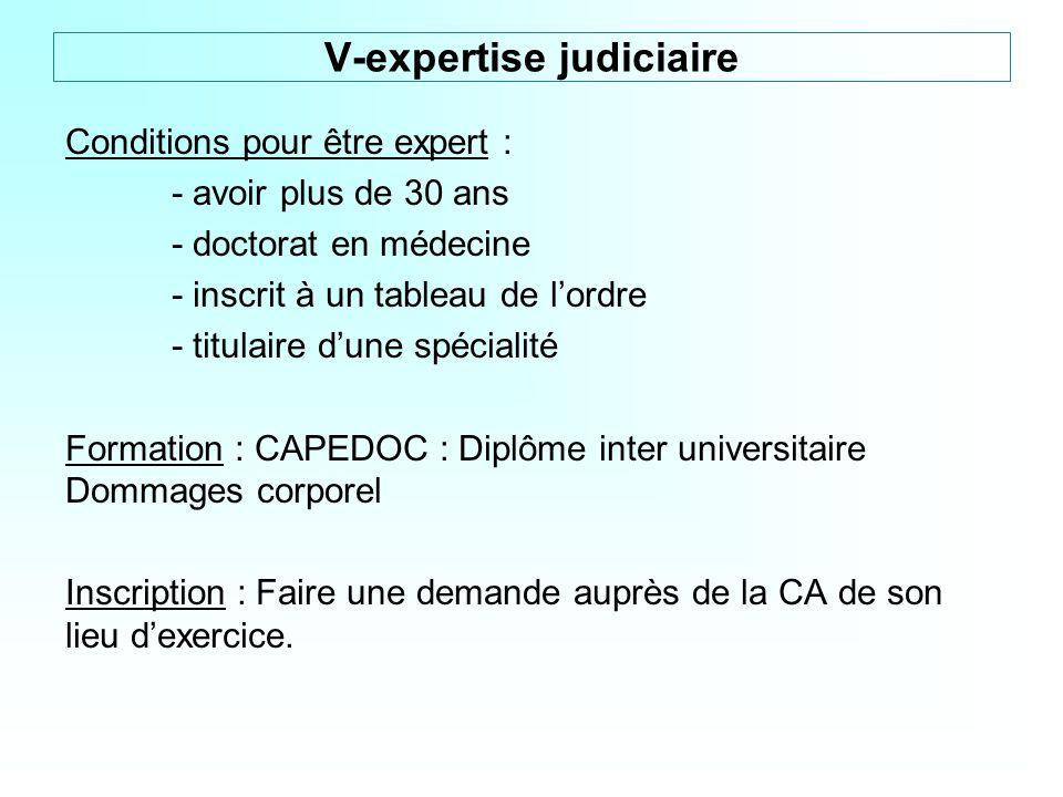 Conditions pour être expert : - avoir plus de 30 ans - doctorat en médecine - inscrit à un tableau de lordre - titulaire dune spécialité Formation : C