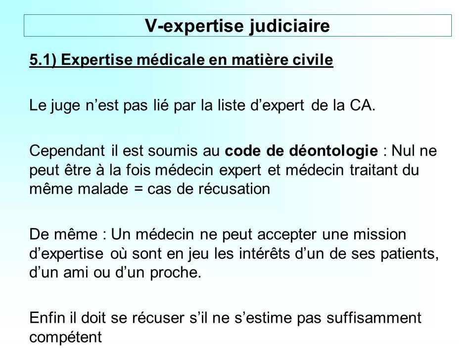 5.1) Expertise médicale en matière civile Le juge nest pas lié par la liste dexpert de la CA. Cependant il est soumis au code de déontologie : Nul ne