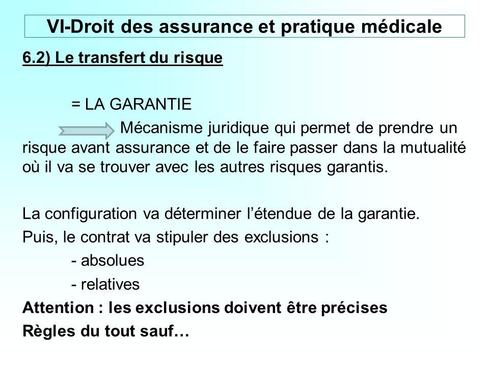 6.2) Le transfert du risque = LA GARANTIE Mécanisme juridique qui permet de prendre un risque avant assurance et de le faire passer dans la mutualité