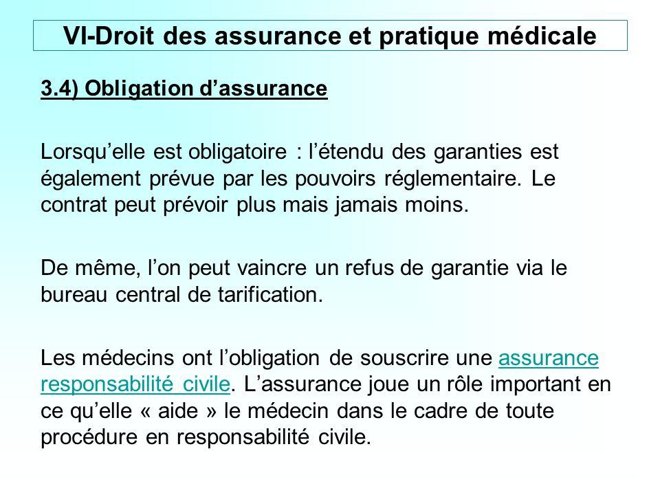 3.4) Obligation dassurance Lorsquelle est obligatoire : létendu des garanties est également prévue par les pouvoirs réglementaire. Le contrat peut pré