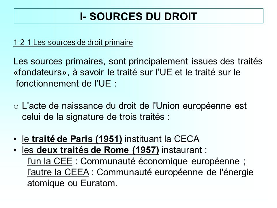 1-2-1 Les sources de droit primaire Les sources primaires, sont principalement issues des traités «fondateurs», à savoir le traité sur lUE et le trait