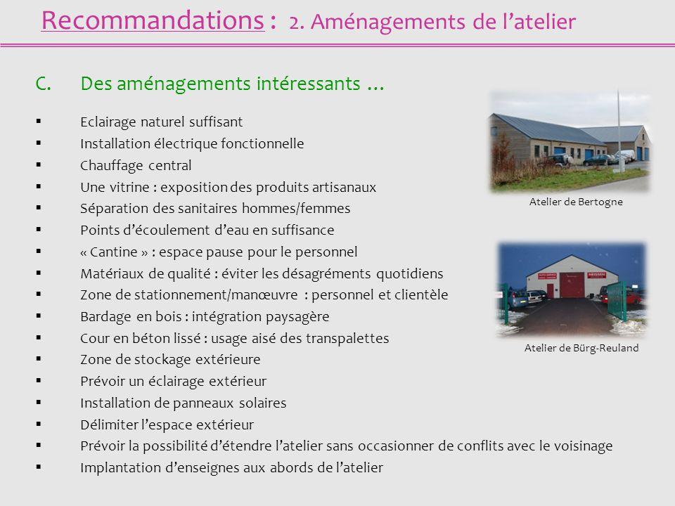 Recommandations : 2. Aménagements de latelier C.Des aménagements intéressants … Eclairage naturel suffisant Installation électrique fonctionnelle Chau
