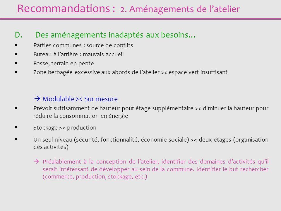 Recommandations : 2. Aménagements de latelier D.
