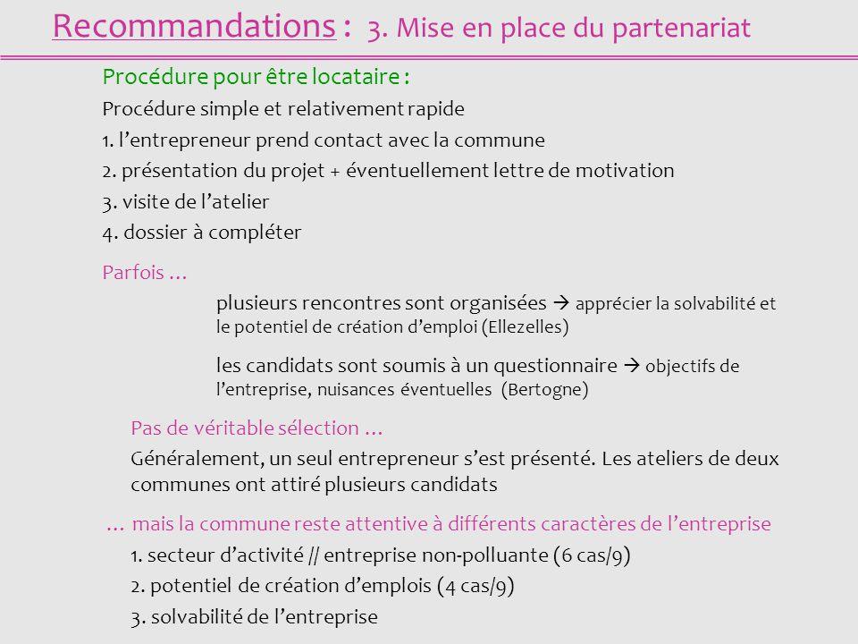 Recommandations : 3. Mise en place du partenariat Procédure pour être locataire : Procédure simple et relativement rapide 1. lentrepreneur prend conta