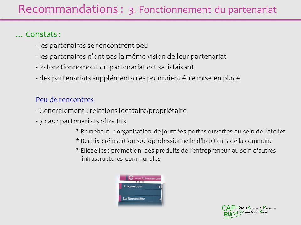 Recommandations : 3. Fonctionnement du partenariat … Constats : - les partenaires se rencontrent peu - les partenaires nont pas la même vision de leur