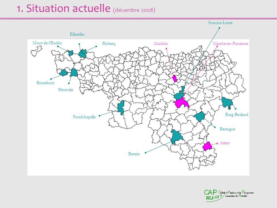 1. Situation actuelle (décembre 2008) Mont-de-l'Enclus Ellezelles FlobecqMarchin Somme-Leuze Marche-en-Famenne Burg-Reuland Bertogne Attert Bertrix Fr