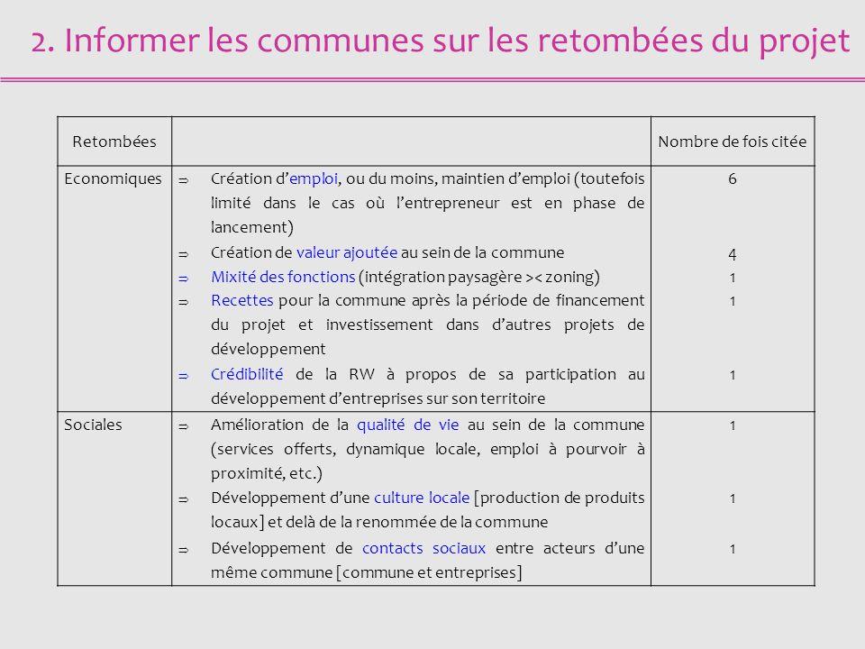 2. Informer les communes sur les retombées du projet RetombéesNombre de fois citée Economiques Création demploi, ou du moins, maintien demploi (toutef