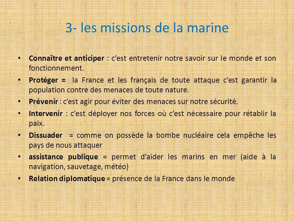 3- les missions de la marine Connaître et anticiper : cest entretenir notre savoir sur le monde et son fonctionnement. Protéger = la France et les fra