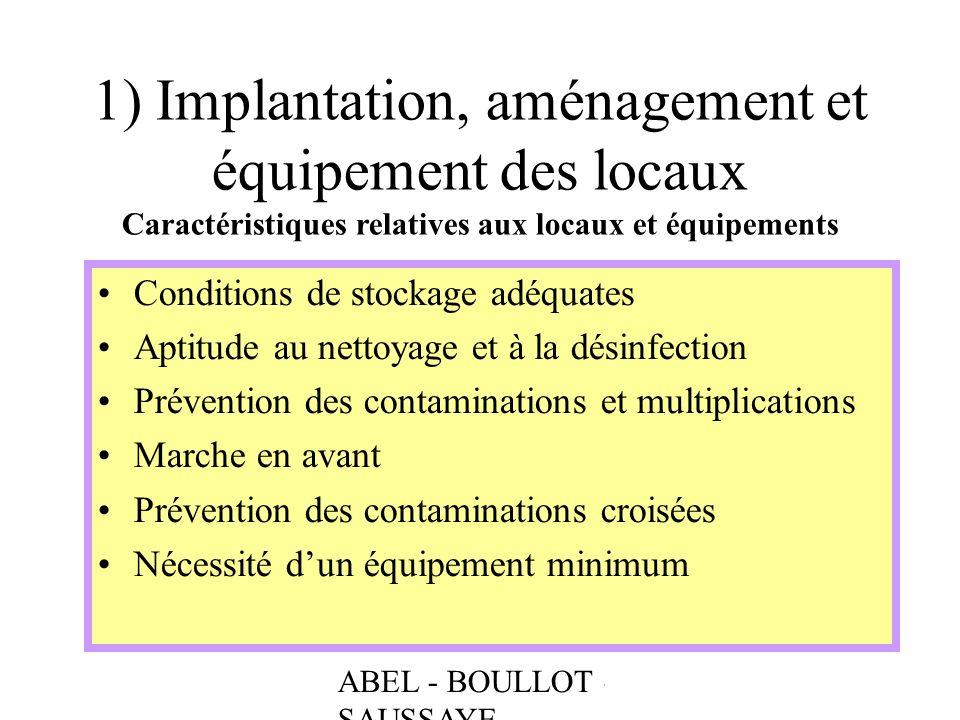 ABEL - BOULLOT - SAUSSAYE 1) Implantation, aménagement et équipement des locaux Caractéristiques relatives aux locaux et équipements Conditions de sto