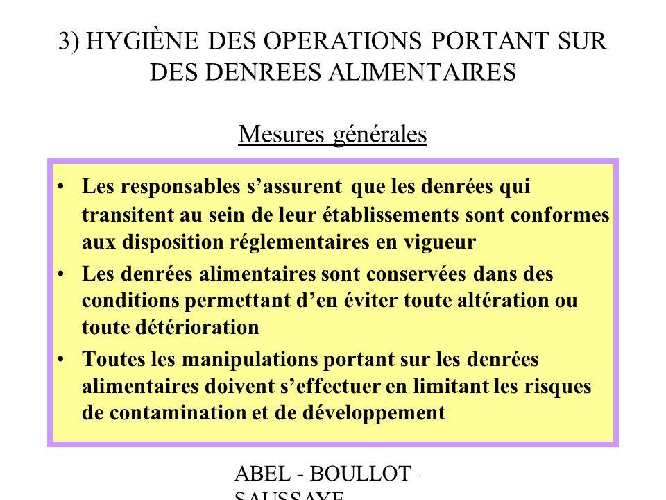 ABEL - BOULLOT - SAUSSAYE 3) HYGIÈNE DES OPERATIONS PORTANT SUR DES DENREES ALIMENTAIRES Mesures générales Les responsables sassurent que les denrées