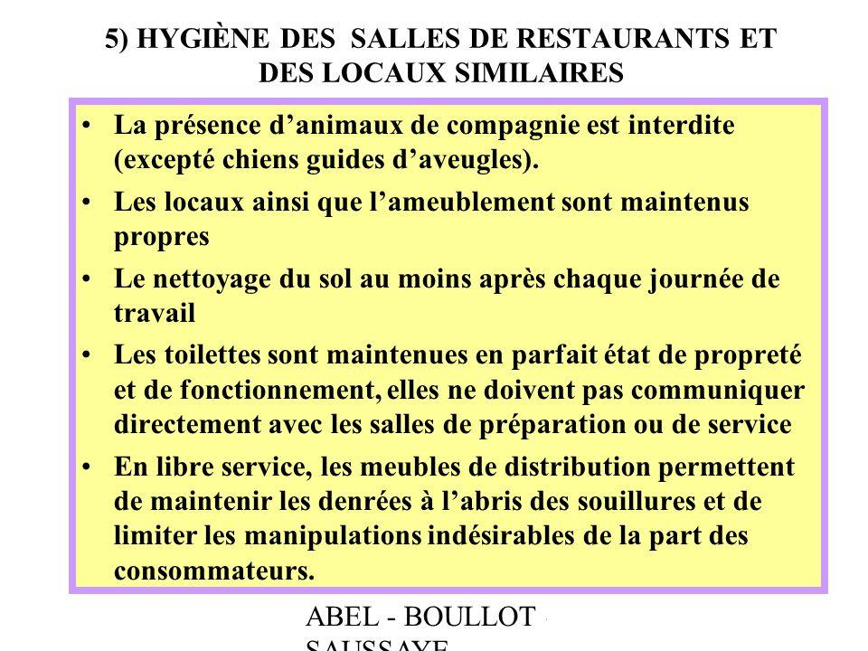 ABEL - BOULLOT - SAUSSAYE 5) HYGIÈNE DES SALLES DE RESTAURANTS ET DES LOCAUX SIMILAIRES La présence danimaux de compagnie est interdite (excepté chien