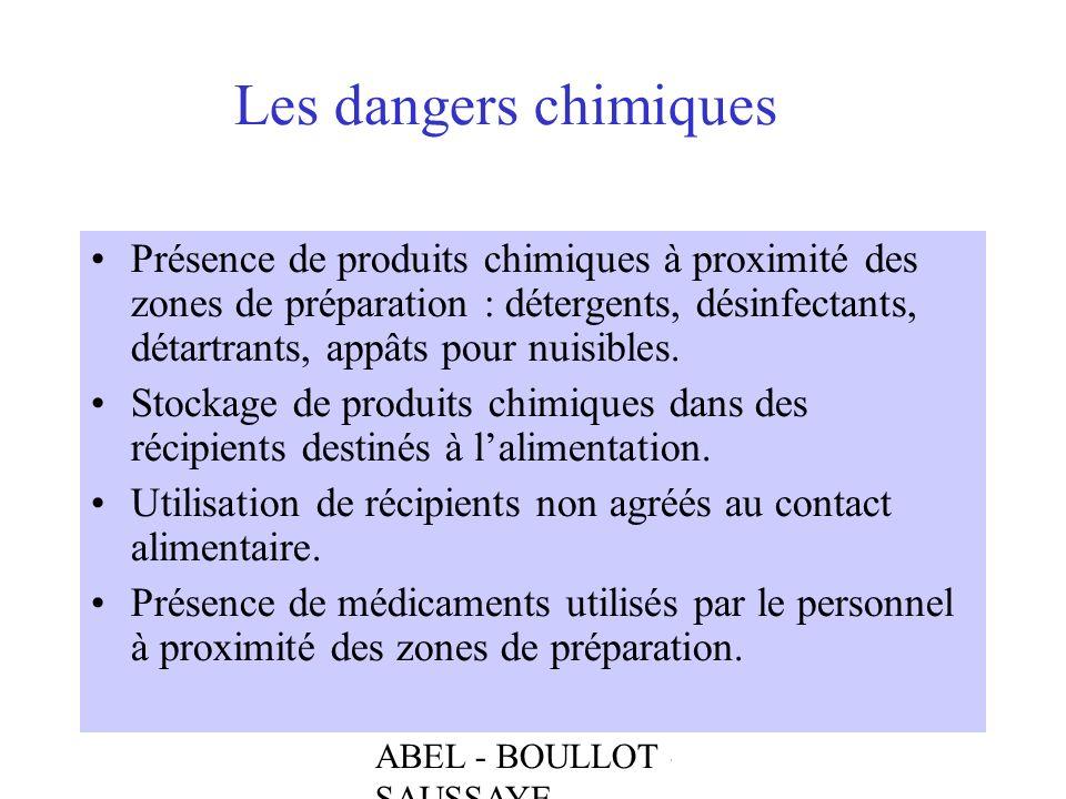 ABEL - BOULLOT - SAUSSAYE Les dangers chimiques Présence de produits chimiques à proximité des zones de préparation : détergents, désinfectants, détar