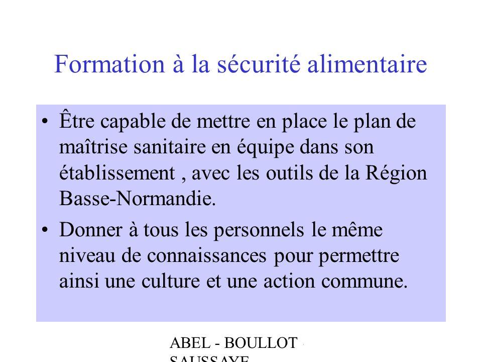 ABEL - BOULLOT - SAUSSAYE Formation à la sécurité alimentaire Être capable de mettre en place le plan de maîtrise sanitaire en équipe dans son établis