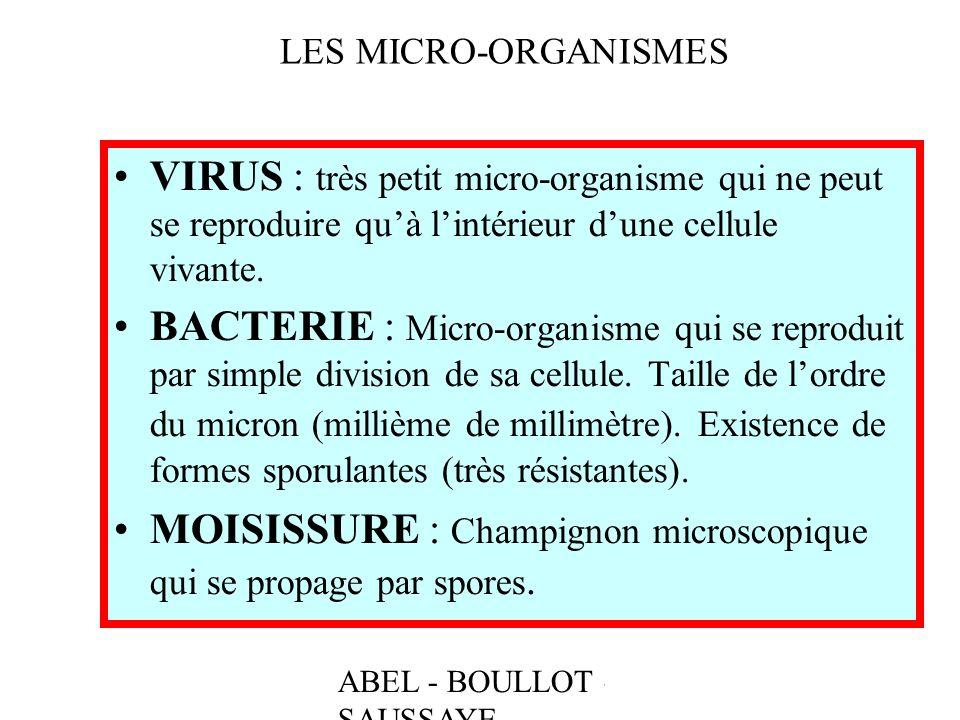 ABEL - BOULLOT - SAUSSAYE LES MICRO-ORGANISMES VIRUS : très petit micro-organisme qui ne peut se reproduire quà lintérieur dune cellule vivante. BACTE