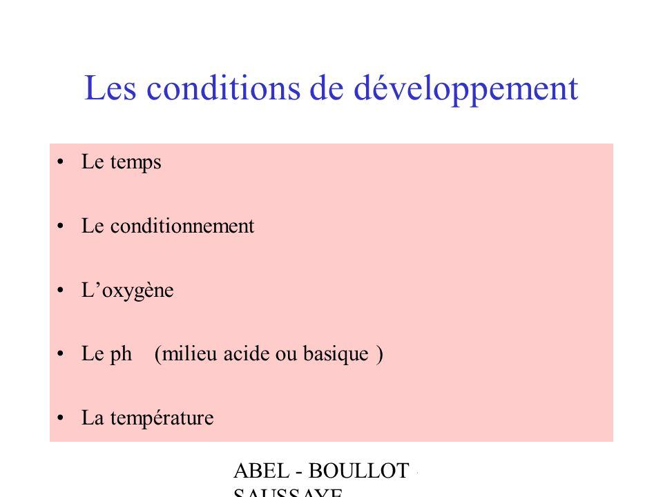 ABEL - BOULLOT - SAUSSAYE Les conditions de développement Le temps Le conditionnement Loxygène Le ph (milieu acide ou basique ) La température