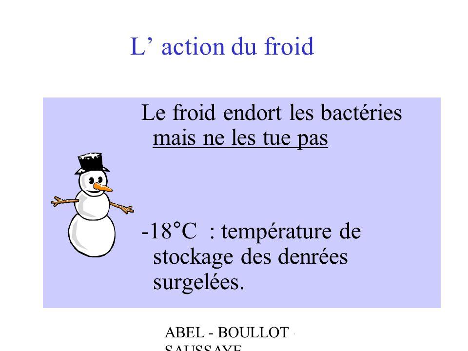 ABEL - BOULLOT - SAUSSAYE L action du froid Le froid endort les bactéries mais ne les tue pas -18°C : température de stockage des denrées surgelées.