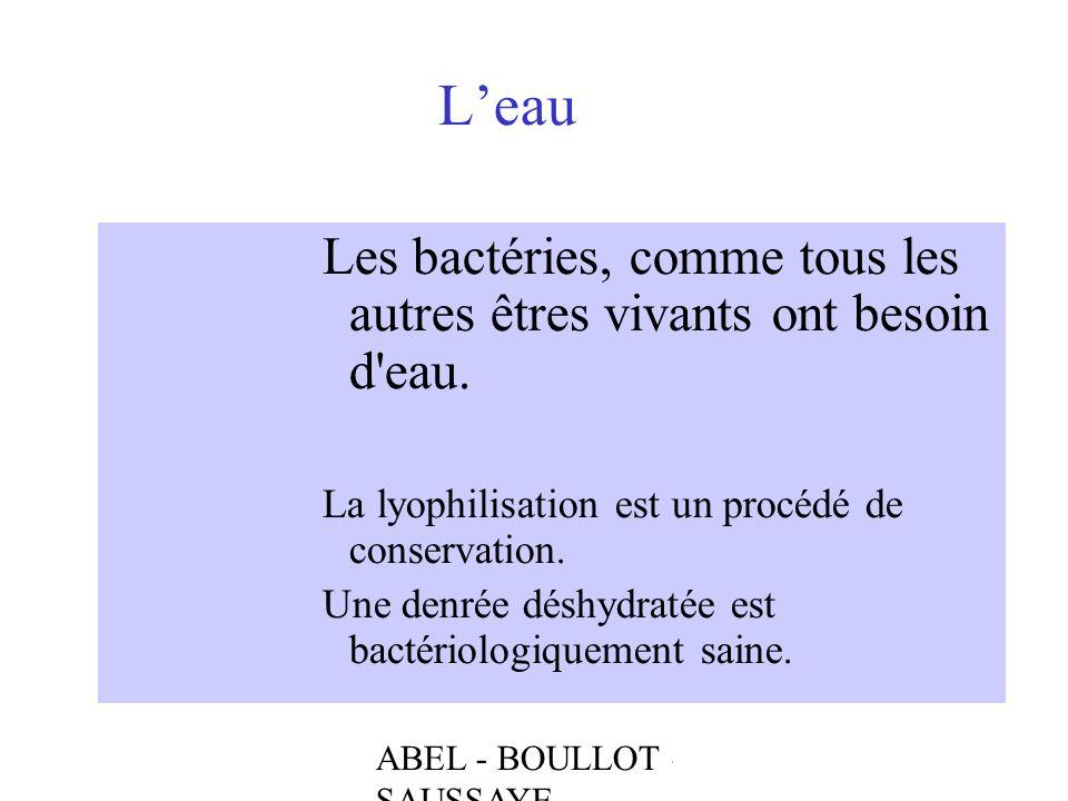 ABEL - BOULLOT - SAUSSAYE Leau Les bactéries, comme tous les autres êtres vivants ont besoin d'eau. La lyophilisation est un procédé de conservation.
