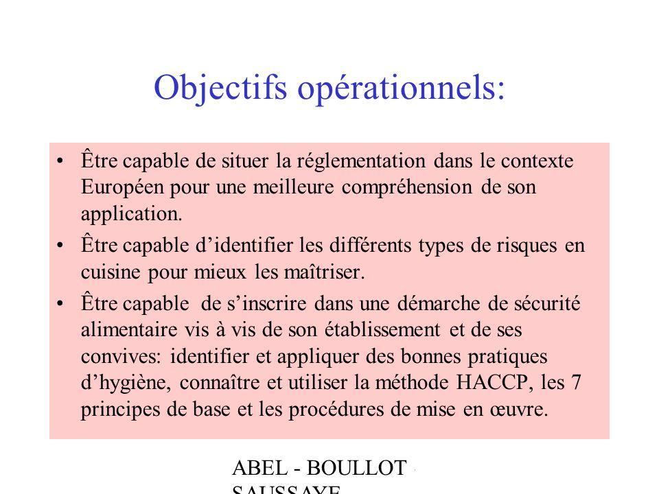 ABEL - BOULLOT - SAUSSAYE Objectifs opérationnels: Être capable de situer la réglementation dans le contexte Européen pour une meilleure compréhension
