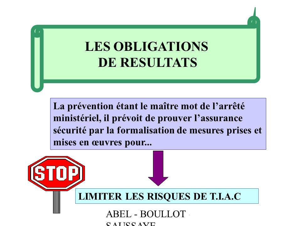 ABEL - BOULLOT - SAUSSAYE LES OBLIGATIONS DE RESULTATS La prévention étant le maître mot de larrêté ministériel, il prévoit de prouver lassurance sécu