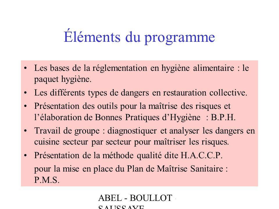 ABEL - BOULLOT - SAUSSAYE Éléments du programme Les bases de la réglementation en hygiène alimentaire : le paquet hygiène. Les différents types de dan