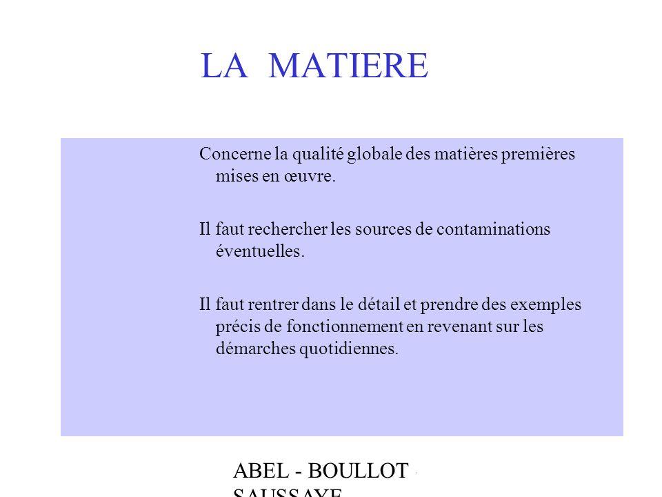 ABEL - BOULLOT - SAUSSAYE LA MATIERE Concerne la qualité globale des matières premières mises en œuvre. Il faut rechercher les sources de contaminatio