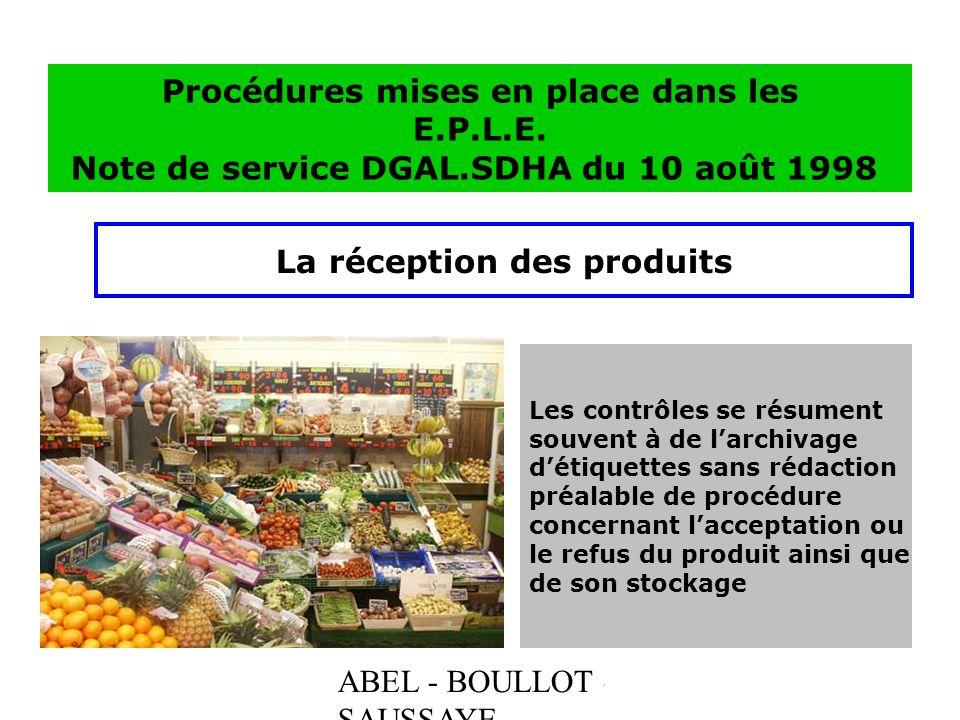 ABEL - BOULLOT - SAUSSAYE Procédures mises en place dans les E.P.L.E. Note de service DGAL.SDHA du 10 août 1998 La réception des produits Les contrôle