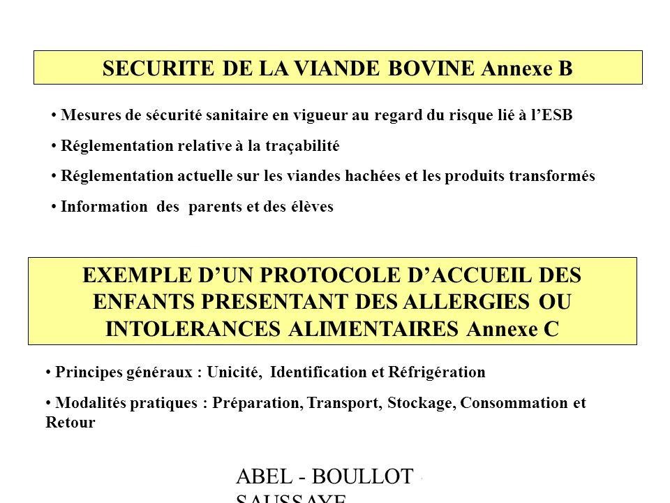 ABEL - BOULLOT - SAUSSAYE SECURITE DE LA VIANDE BOVINE Annexe B Mesures de sécurité sanitaire en vigueur au regard du risque lié à lESB Réglementation