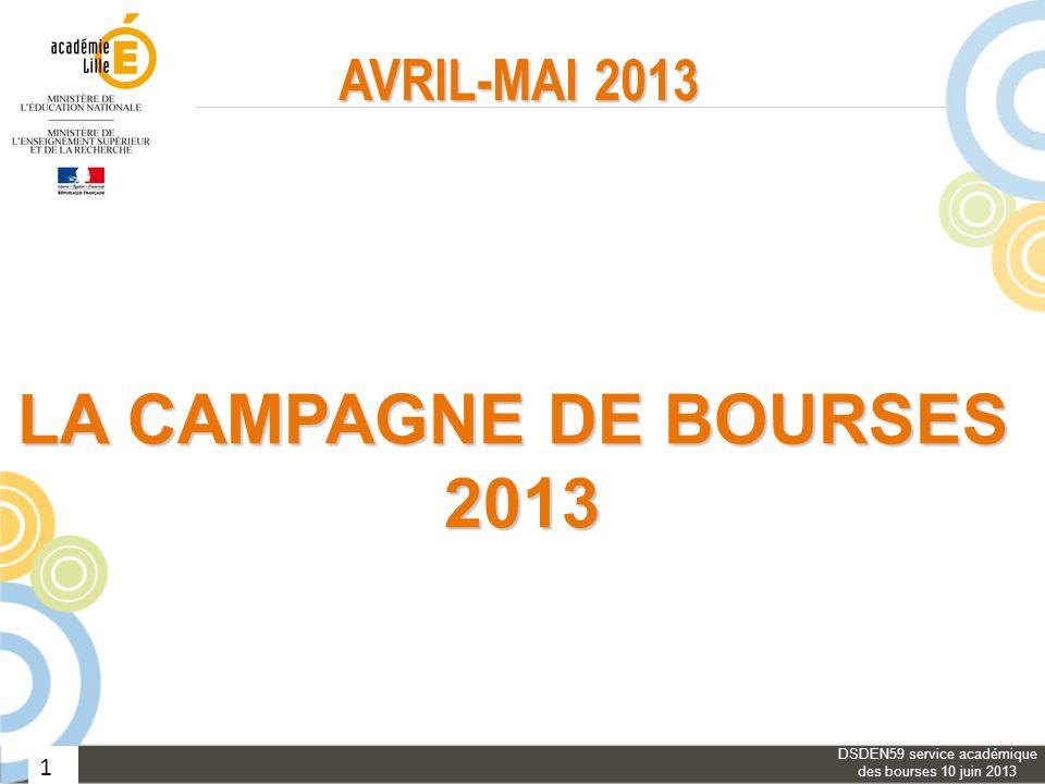 1 AVRIL-MAI 2013 LA CAMPAGNE DE BOURSES 2013 DSDEN59 service académique des bourses 10 juin 2013
