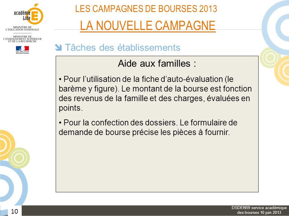10 LES CAMPAGNES DE BOURSES 2013 LA NOUVELLE CAMPAGNE Tâches des établissements Information des familles : Aide aux familles : Vérification des dossie